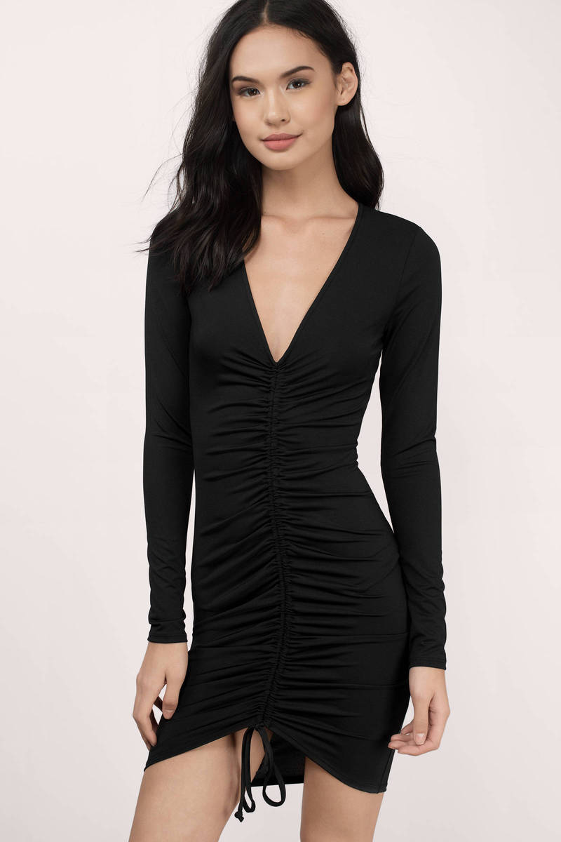 Helena Black Jersey Knitted Bodycon Dress
