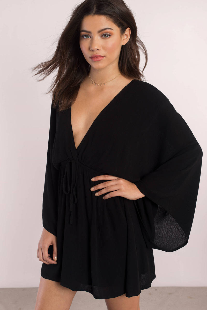 Helene Black Kimono Dress