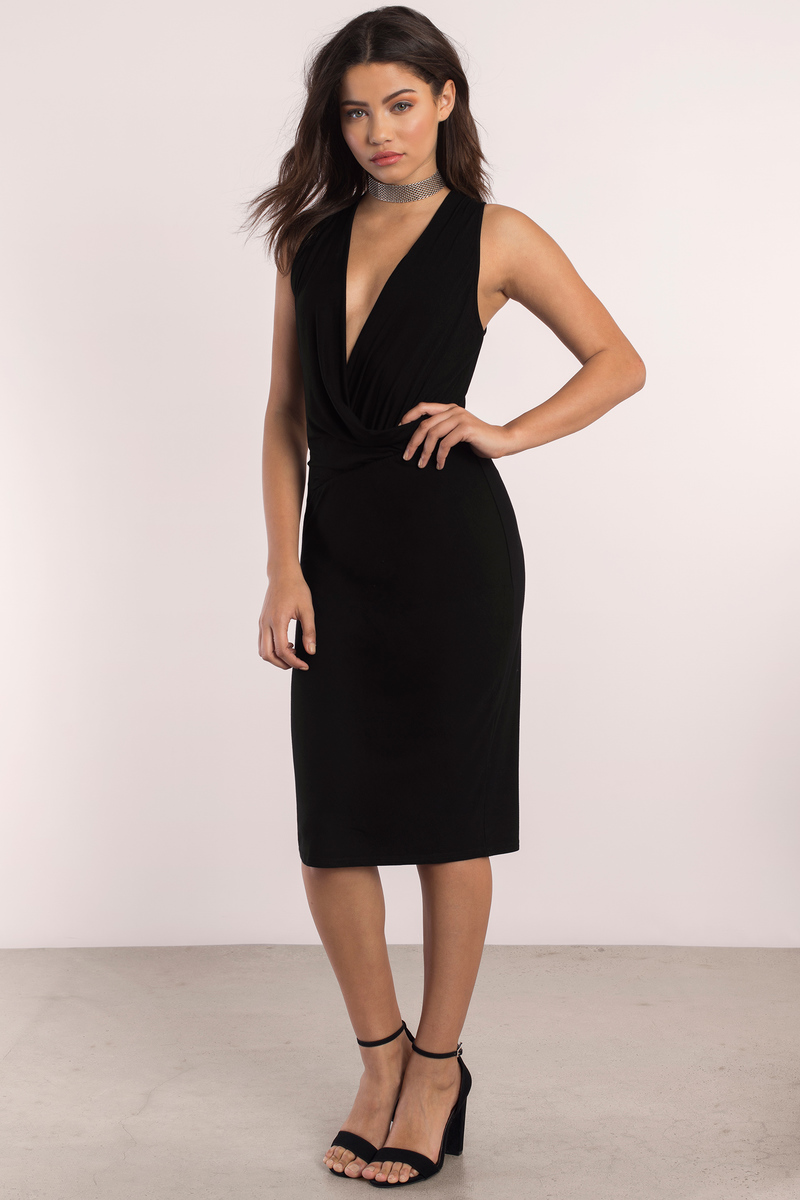 59d7065722f7 Black Dress - Sleeveless Dress - Stunning Black Dress - Midi Dress ...