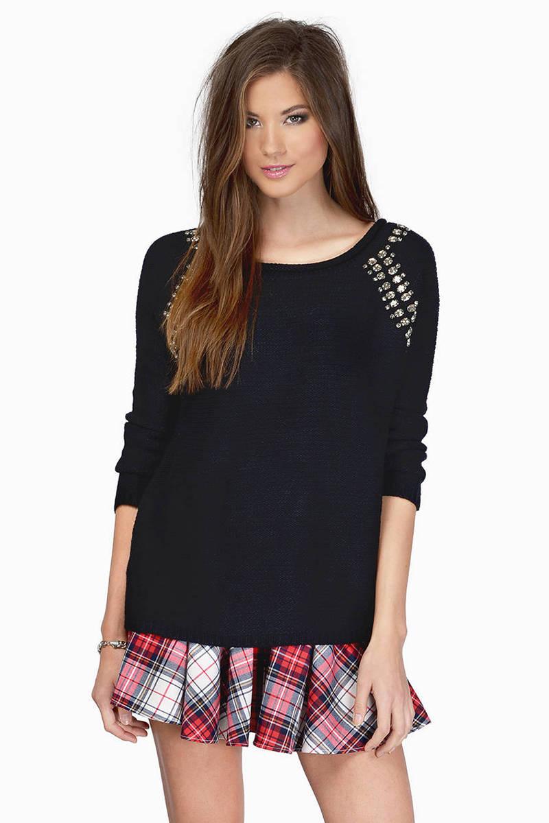 Hidden Gemini Black Knitted Sweater