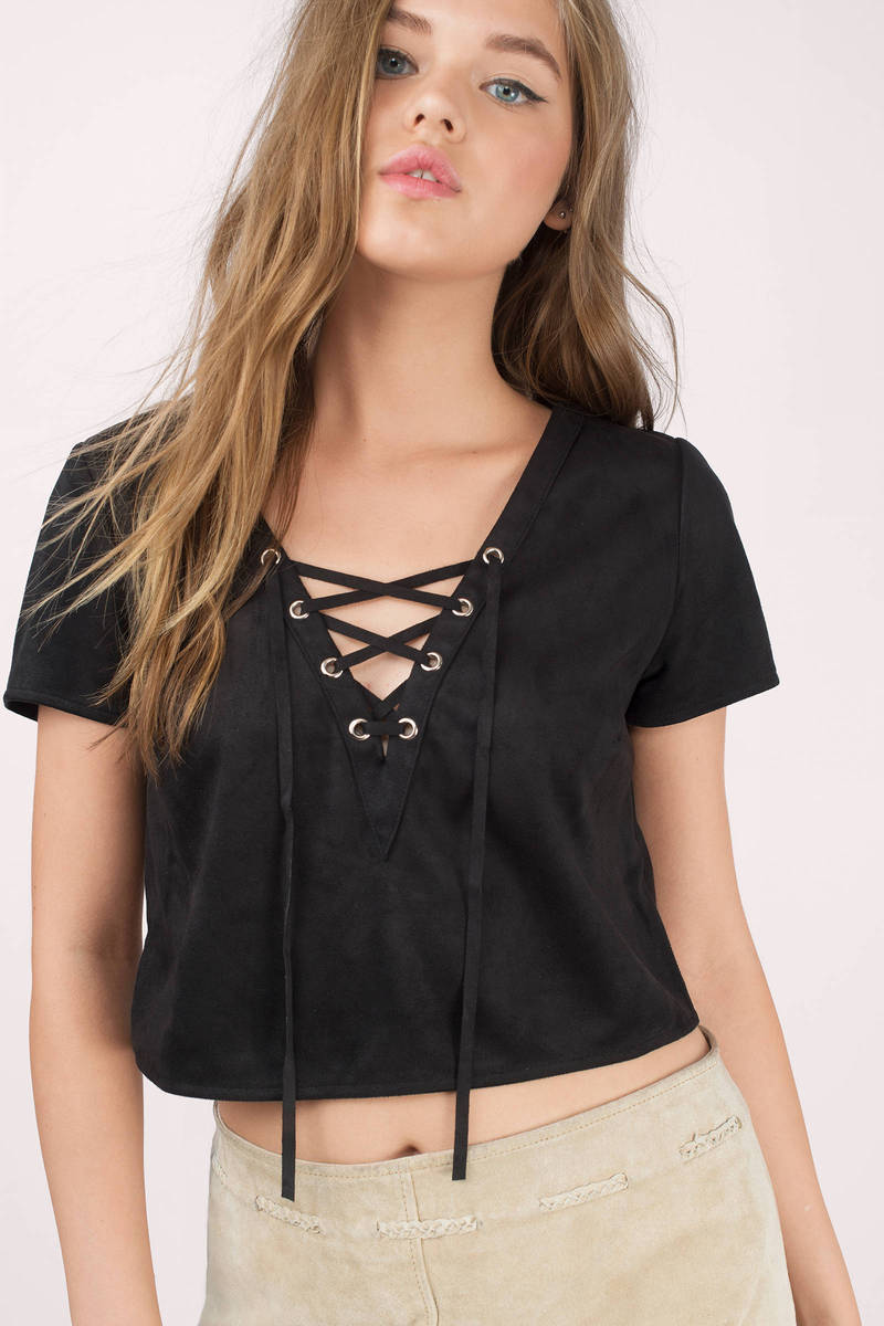 Hillside Rust Faux Suede Crop Top