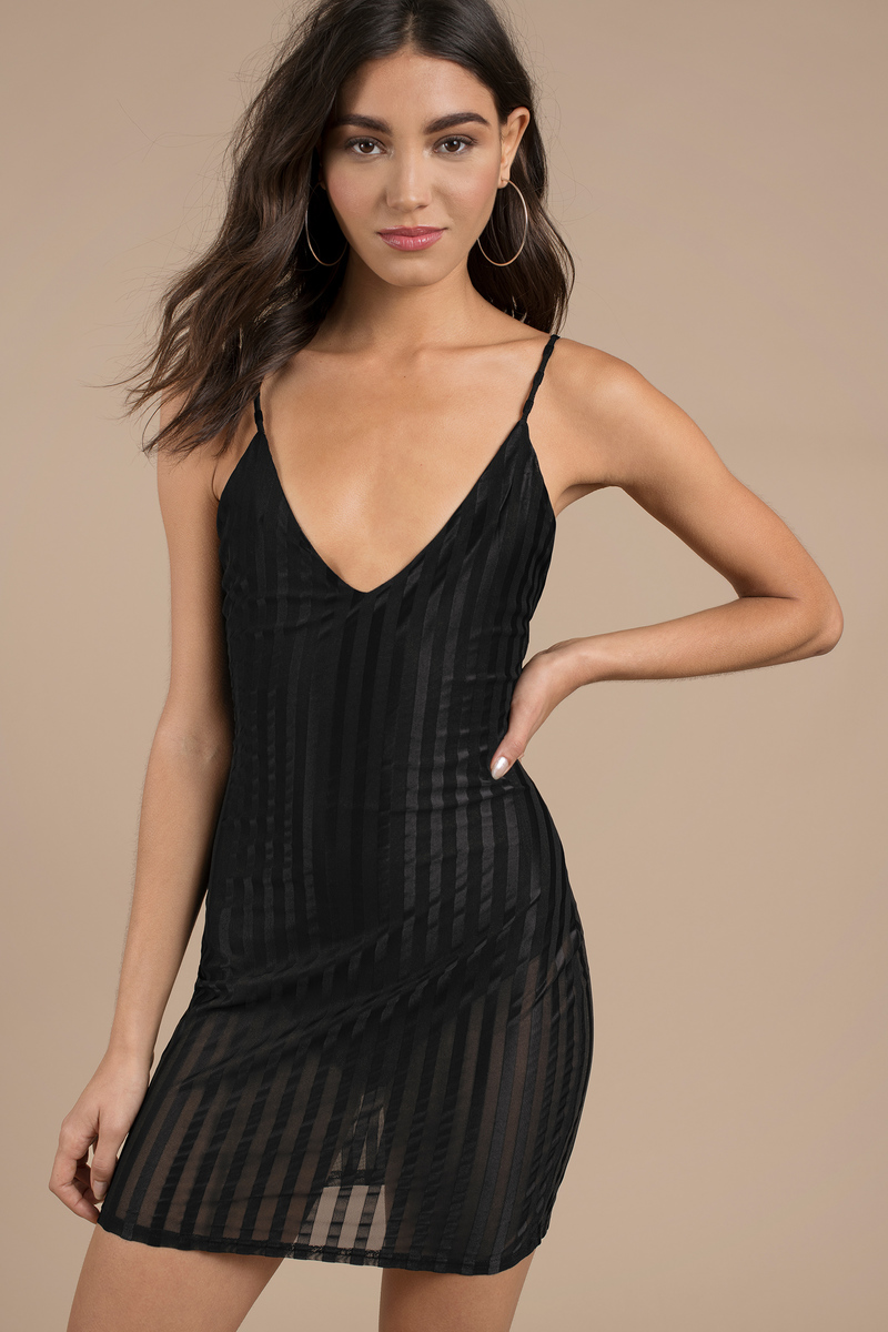 f51bc679a0c6 Black Bodycon Dress - V Neck Dress - Black Sheer Dress - Mesh Mini ...