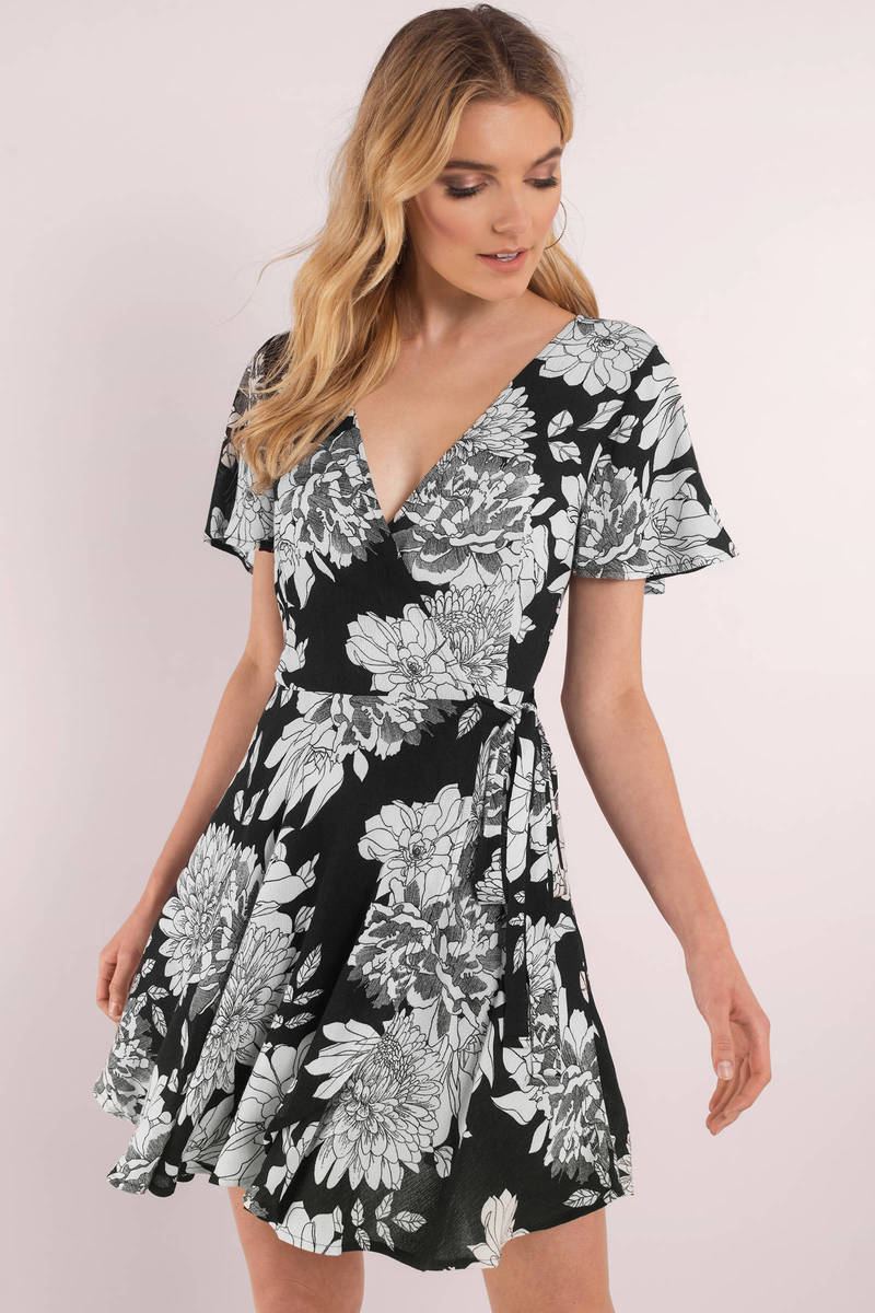 fbe9d0d0f Black Dress - Floral Print Dress - Tropical Wrap Dress - Wrap Dress ...