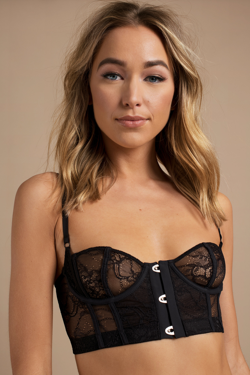 Hook It Up Black Lace Bustier Bra