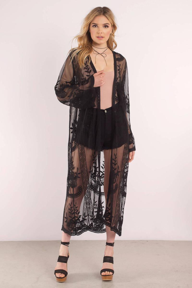 Cute Black Cardigan - Lace Cardigan - Black Floral Print Kimono ...