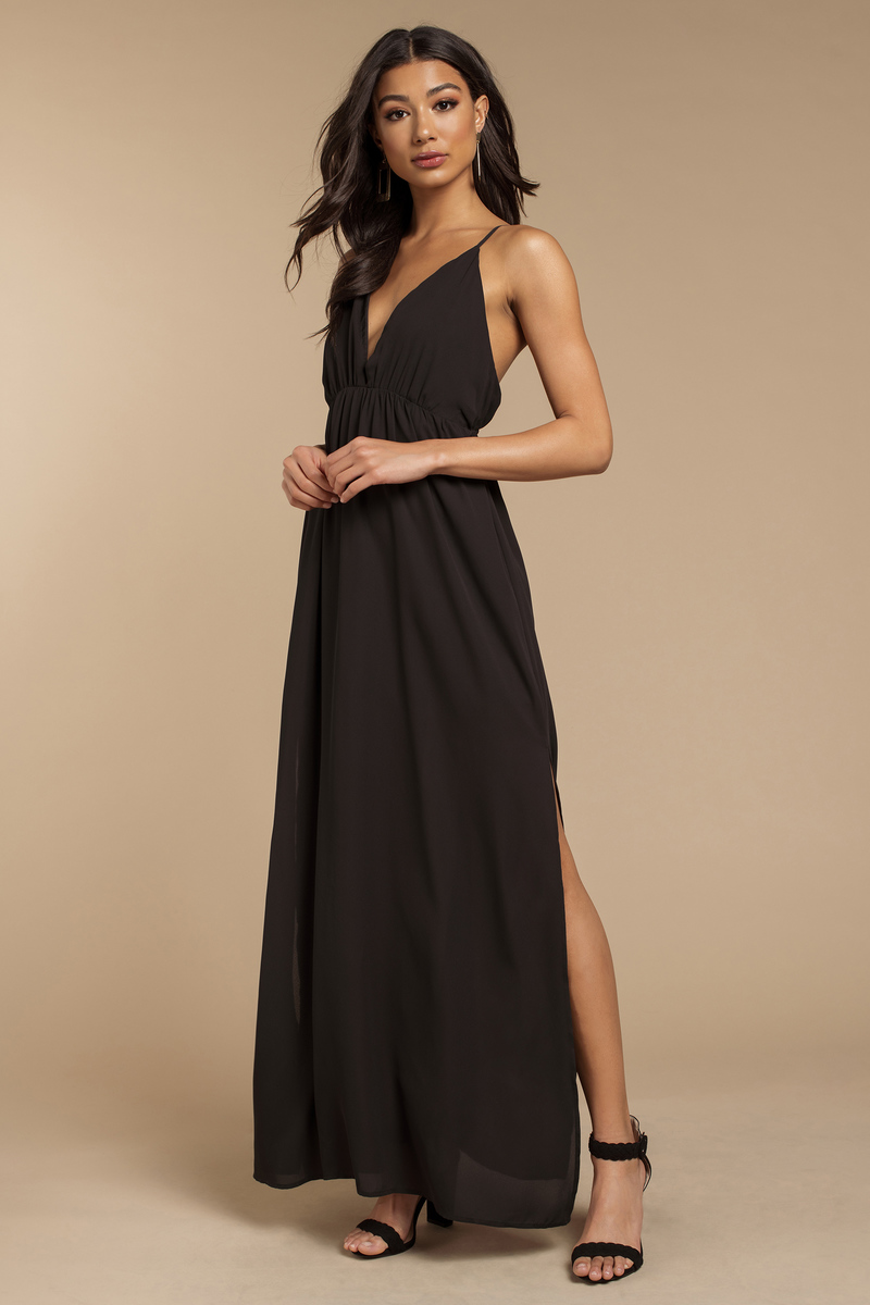 Elegant Dress - Black Dress - Black Chiffon Dress - Maxi Dress - $66