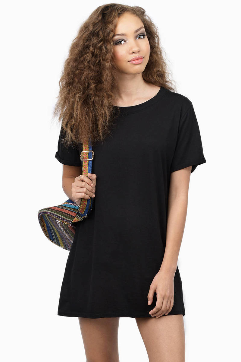 In Short Vintage Black Tunic Dress