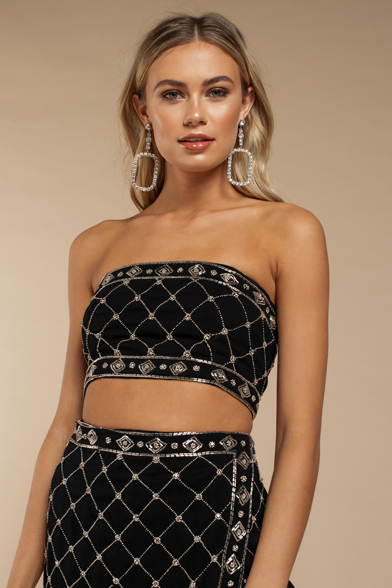 ecb008f8bcca4 Black Going Out Top - Embellished Tube Top - Black Beaded Crop Top ...