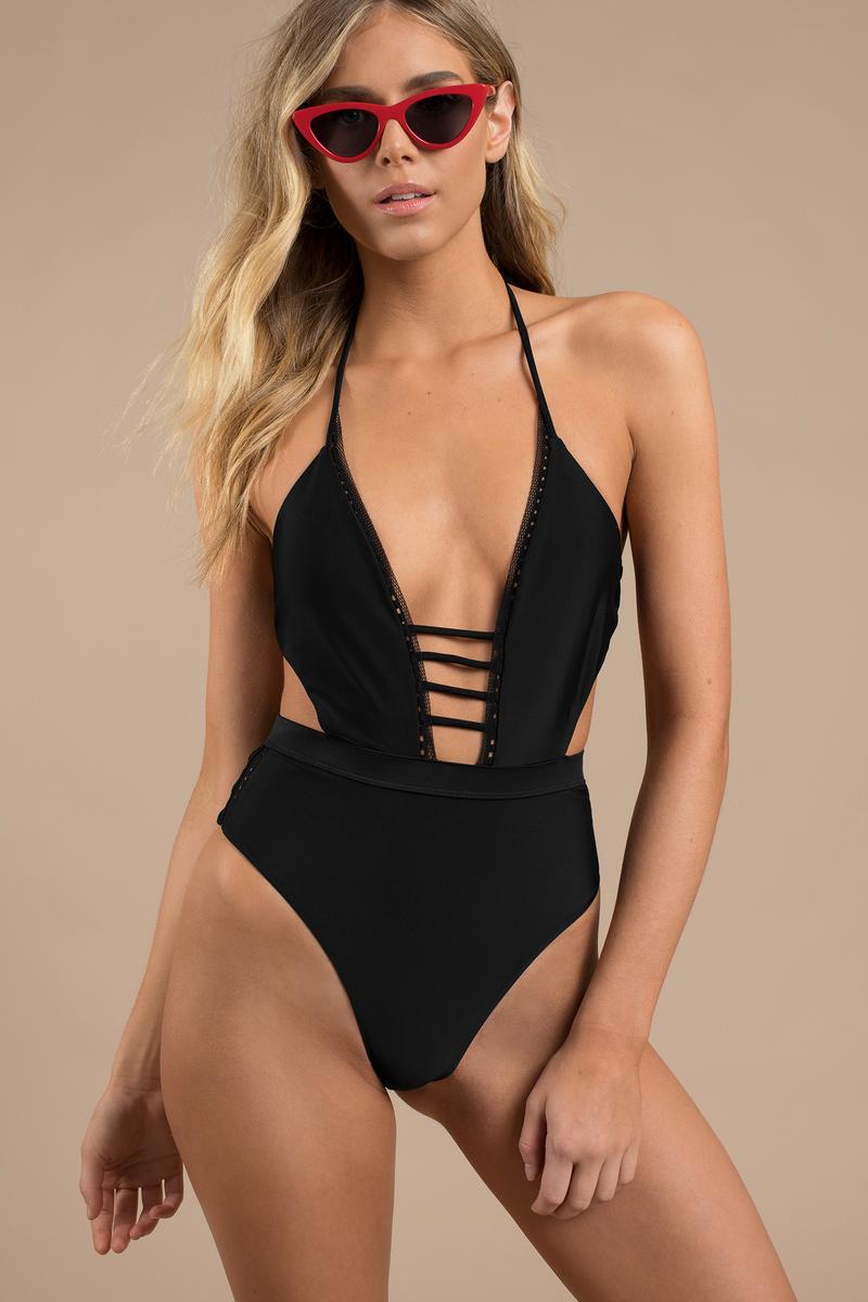cc7ef1eb38285 Black One Piece - Bandage Cut Out Swimsuit - Black Halter Swimsuit ...