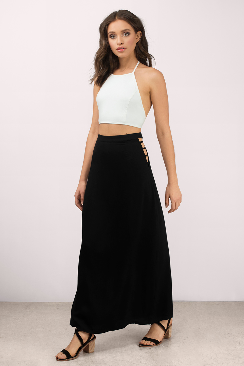 Into You Olive Maxi Skirt