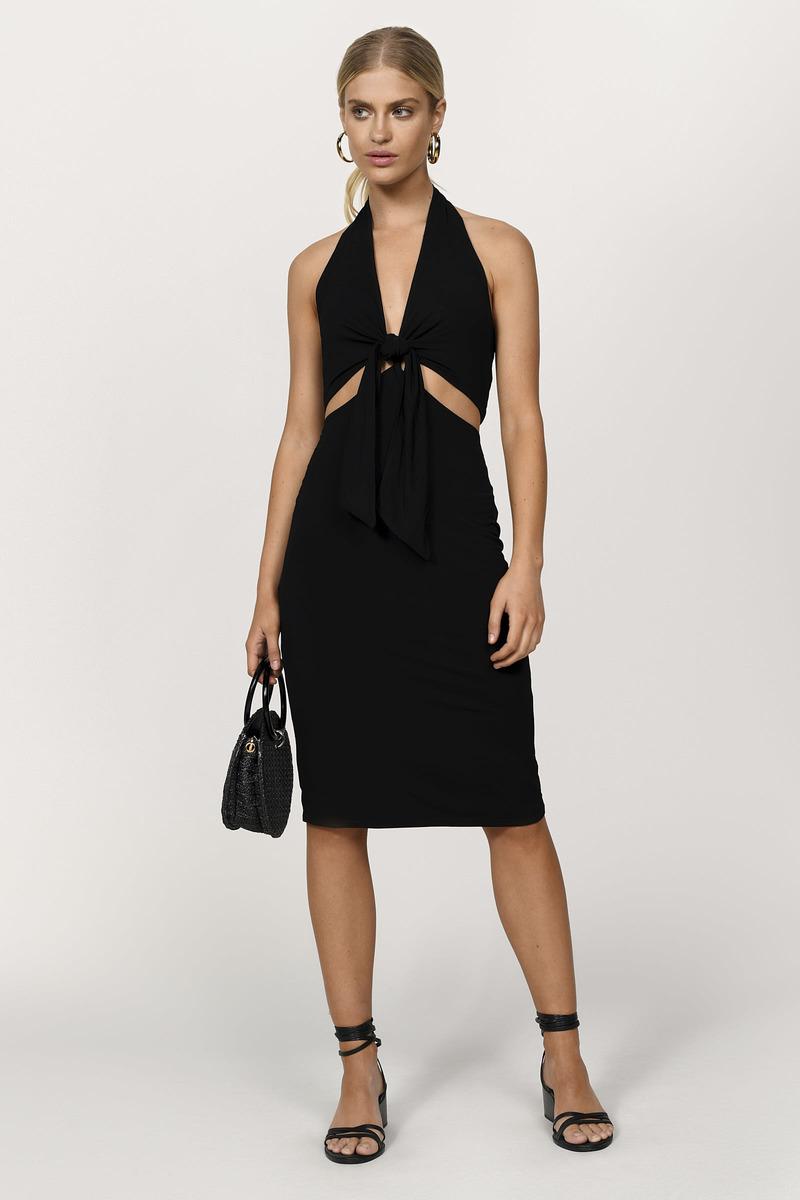 3b41b842bf89 Sexy Black Dress - Wrap Dress - Backless Sheath Dress - Midi Dress ...