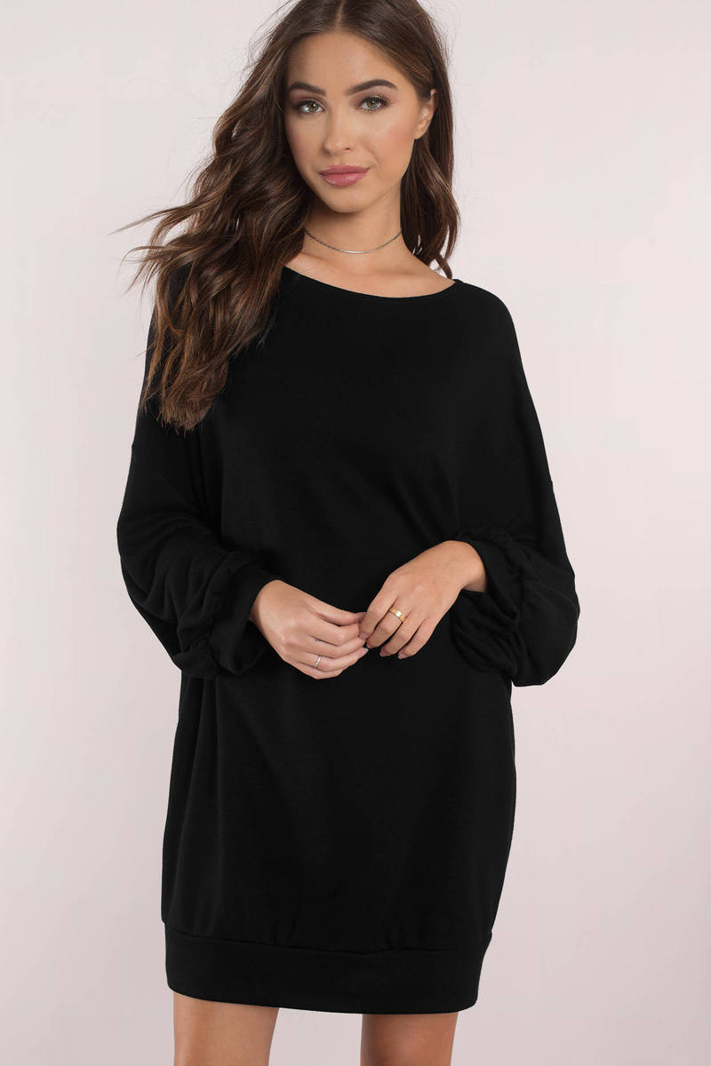 It Was Love Black Sweatshirt Dress