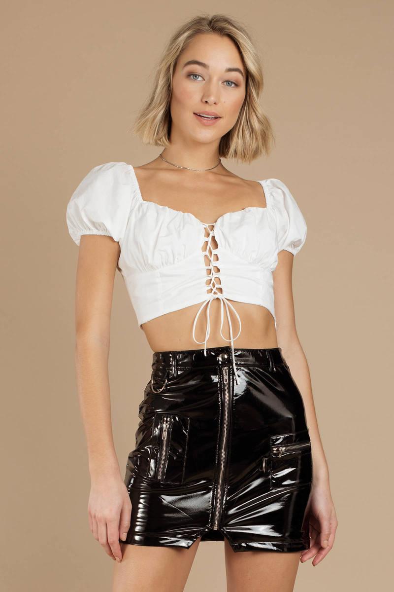82054c81ff Black Tiger Mist Skirt - Patent Leather Mini Skirt - Black Faux Mini ...