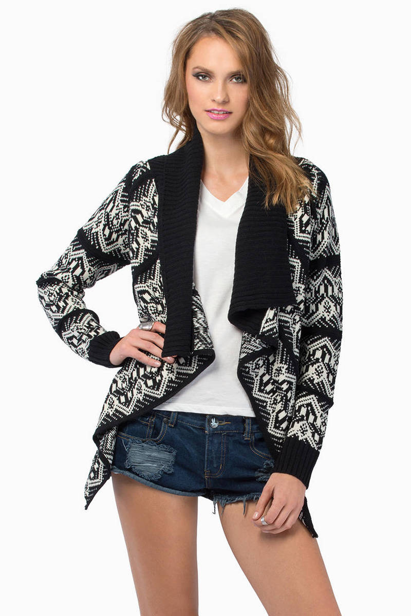 Gaze On Black & Ivory Aztec Print Cardigan