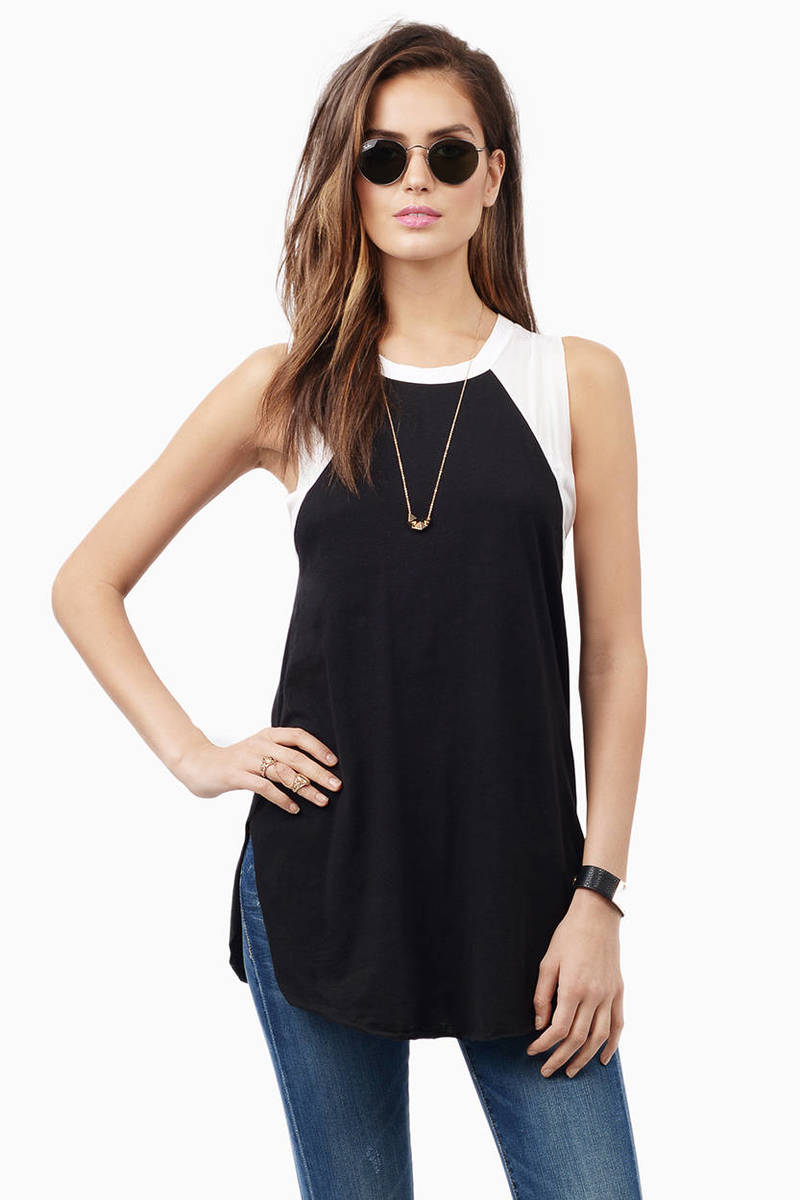 Go With Me Ivory & Blue Tank