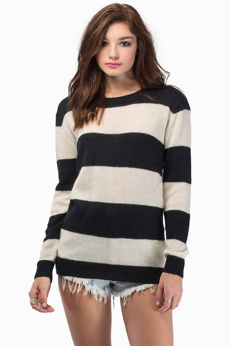 In Between Lines Black & Ivory Sweater