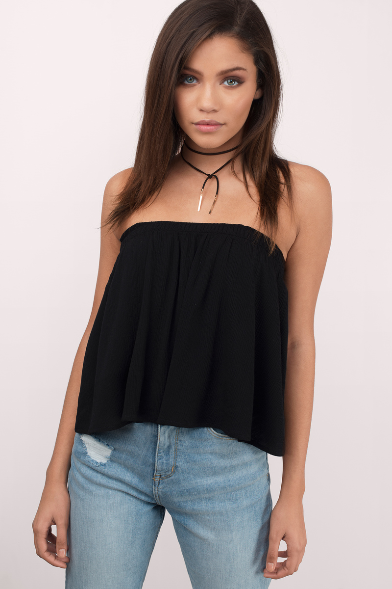 Ivy Black Crepe Gauze Crop Top