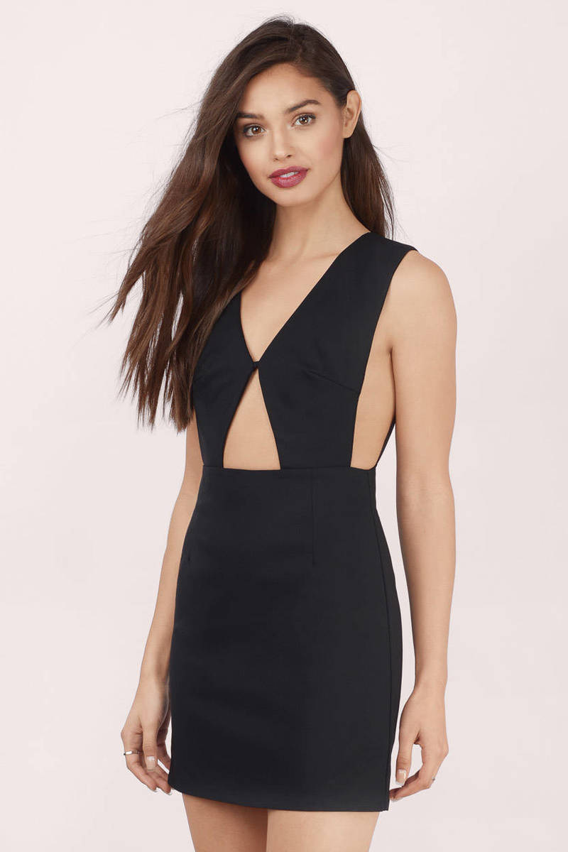 Sexy Black Bodycon Dress - Cut Out Dress - Bodycon Dress - $9
