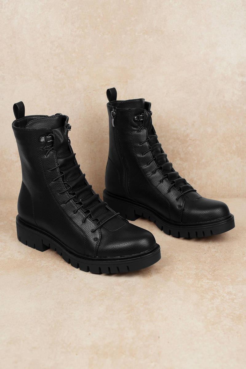 b742c3f1148 Black Flat Boots - Cute Combat Boots - Black Lace Up Boots - $46 ...