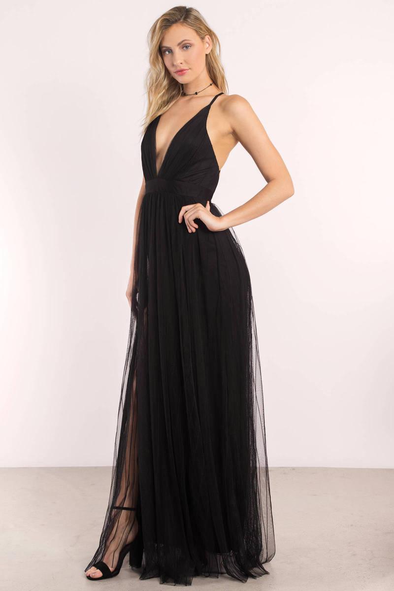 Luxxel Jaclyn Black Fishnet Overlay Maxi Dress