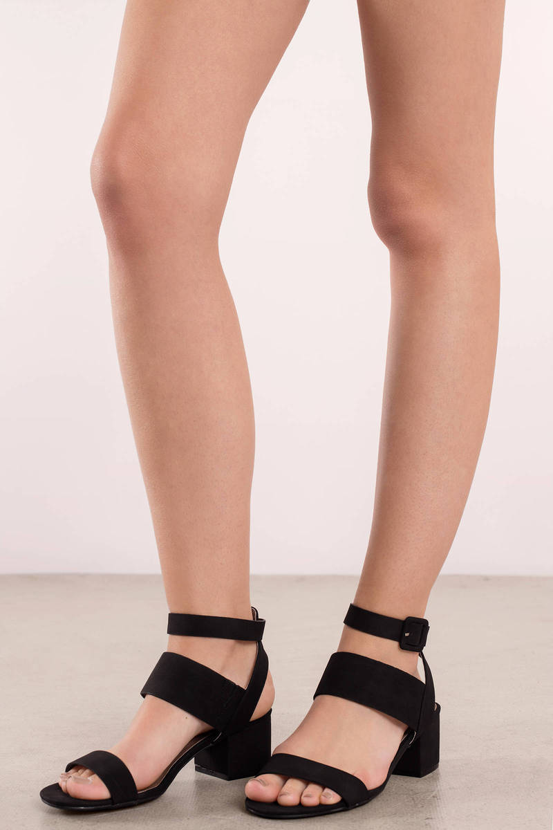 Jaden Black Strappy Heels