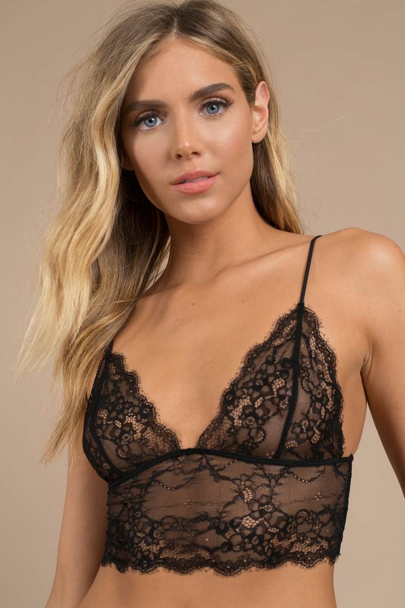 Black Bra - Scalloped Hem Bra - Black Lace Bralette - Sexy -5053