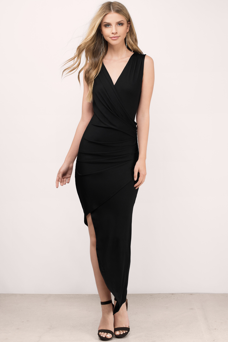 Maxi dress black&white peach