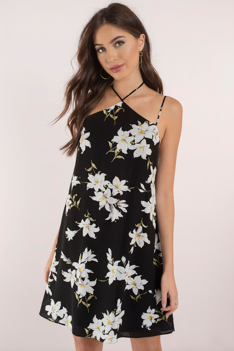 Black Dress Caged Back Dress Tropical Halter Dress