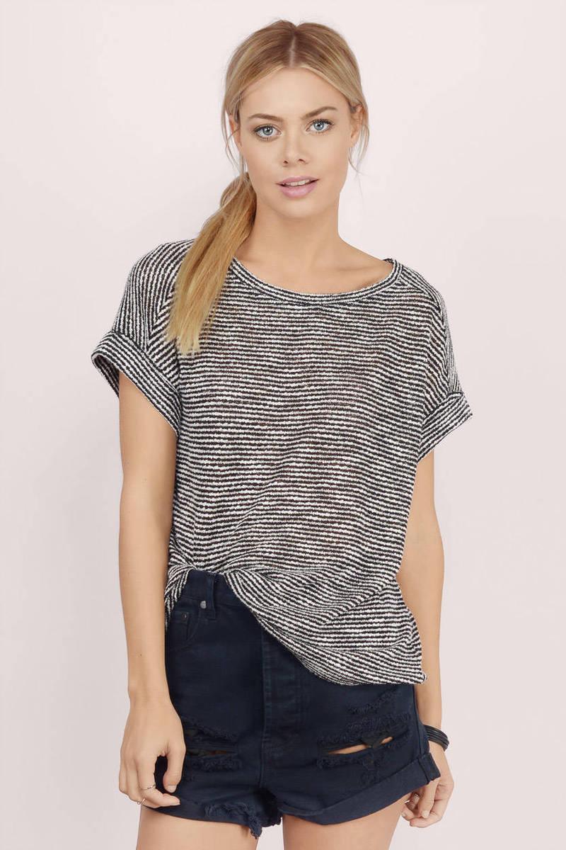 Jemina Black Striped Knitted Tee