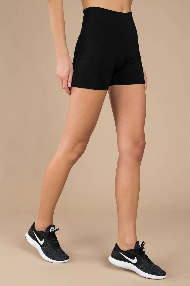 8e2929ad56a Black Shorts - High Waisted Shorts - Black Spandex Biker Shorts ...