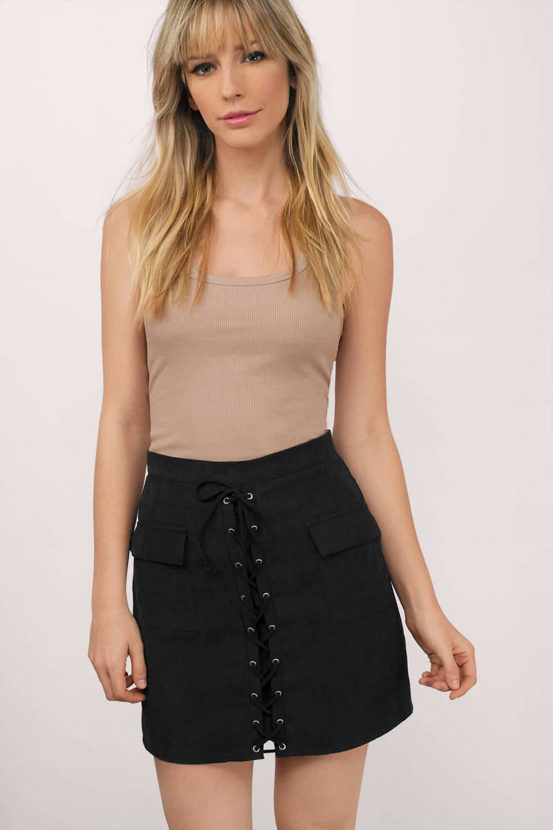 Jess Black Faux Suede Skirt