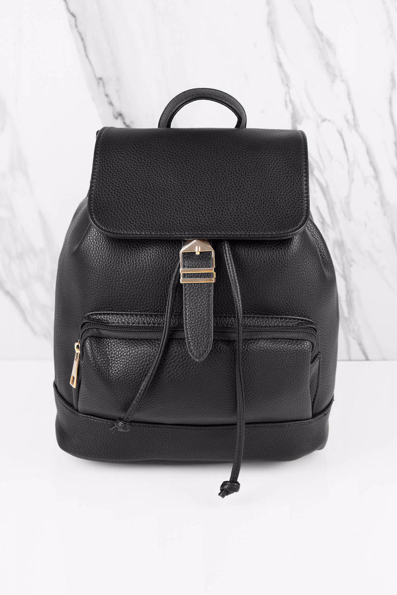 Jessie Black Faux Leather Backpack
