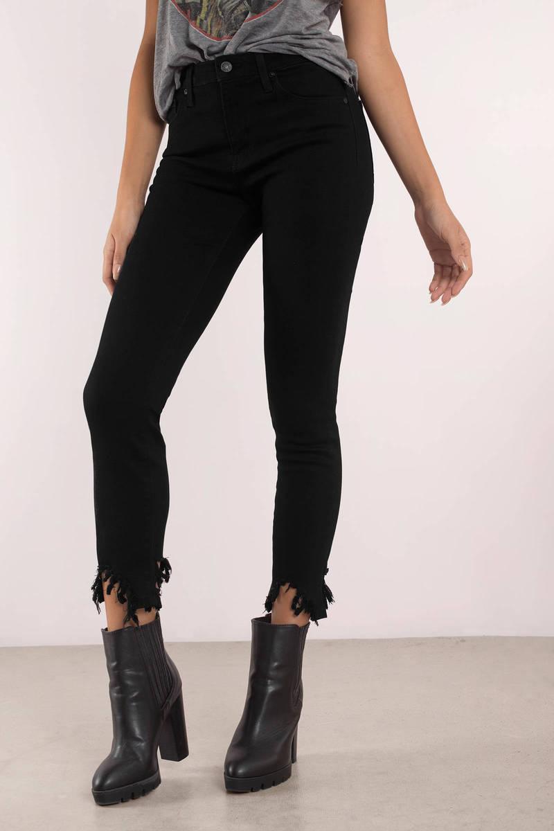 808512402a89 Trendy Black Jeans - Frayed Hem - Black Jeans - £34 | Tobi GB