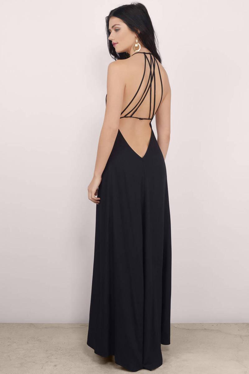 fdfd0d27db Black Maxi Dress - Black Dress - Deep V Dress -  21