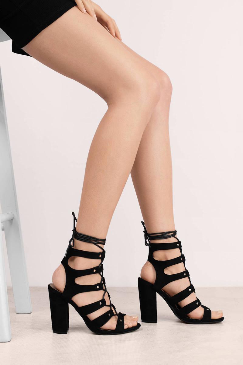 Black Heels - Strappy Heels - Lace Up Heels - Chunky Heels - $70 ...