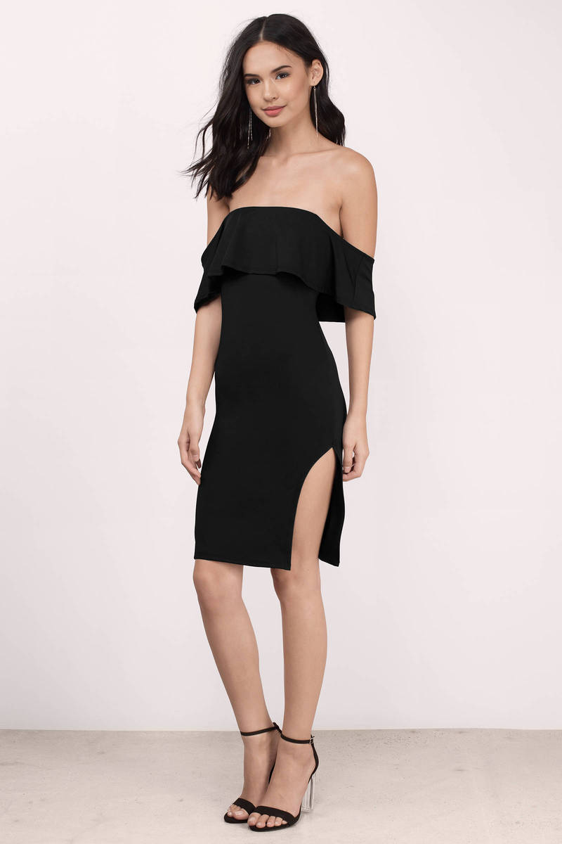 Jizelle Black Solid Bodycon Dress