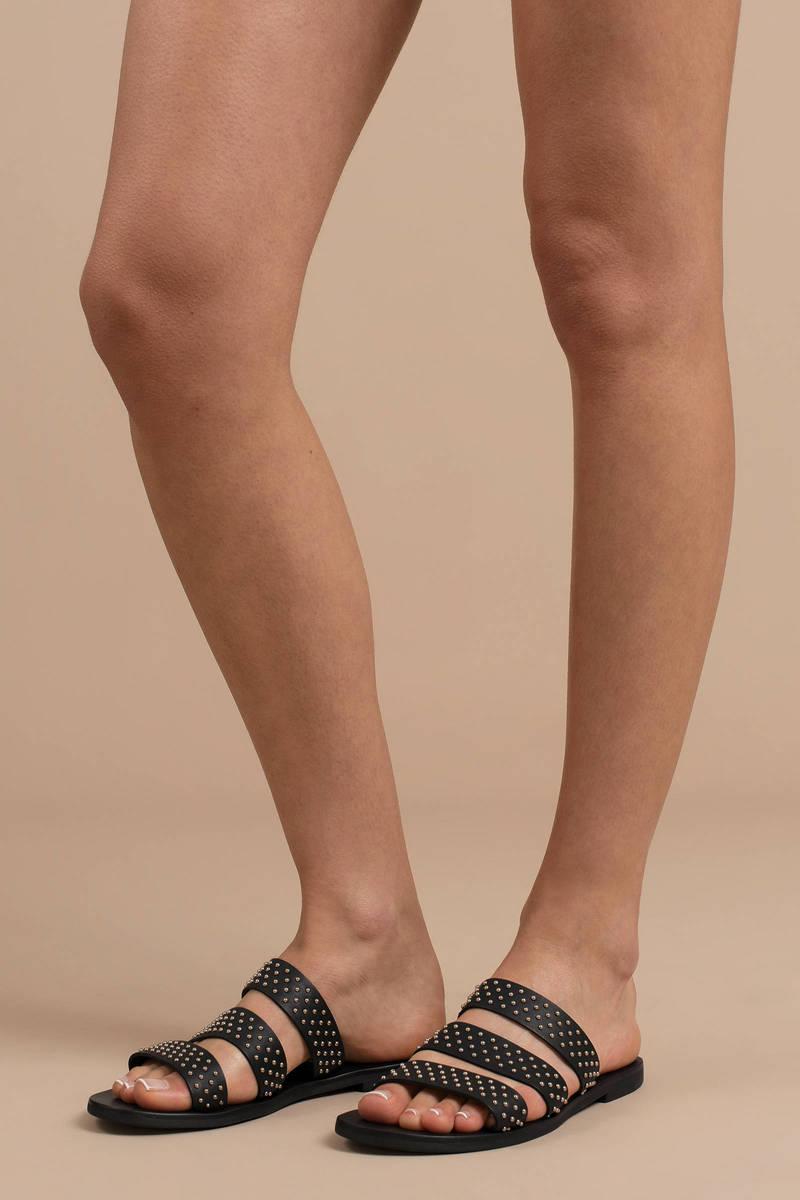 15e8339d213ea0 Black Sol Sana Sandals - Strappy Sandals - Black Studded Sandals ...