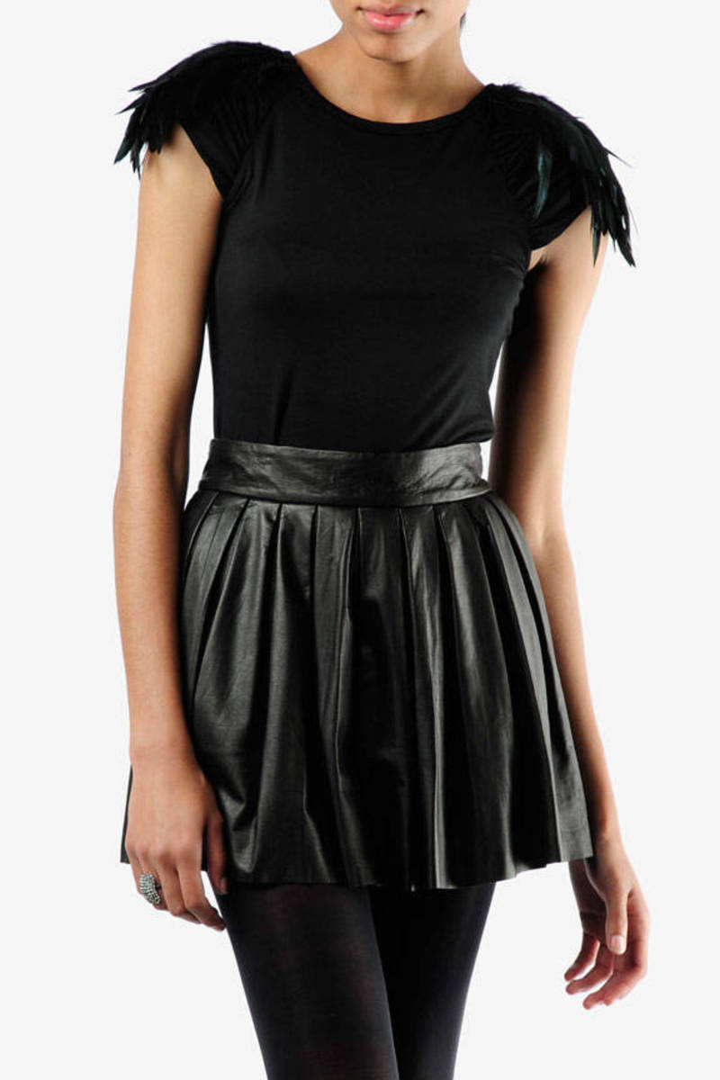 1083664f2d9 Black Alice+Olivia Top - Feather Sleeve Top - Black Elegant Blouse ...