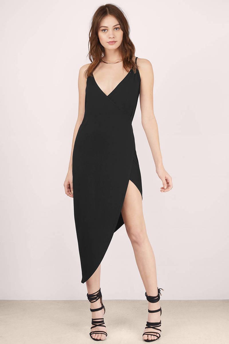 f6ba6616b2 Sexy Black Wrap Dress - Black Dress - High Low Dress - Wrap Dress ...