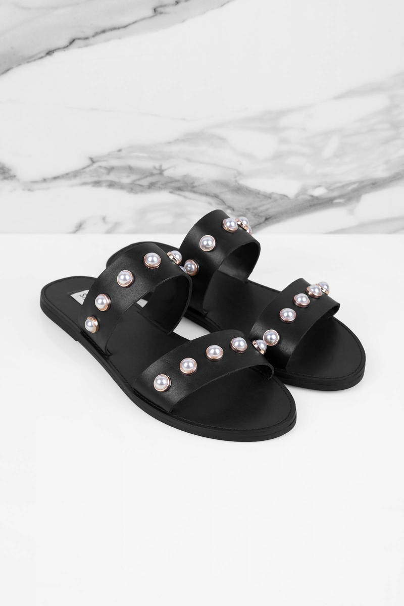 Black Sandals Double Strap Sandals Black Pearl Sandals