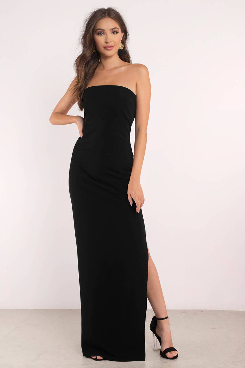 Black Dress - Strapless Dress - Black Elegant Dress - Maxi Dress ...