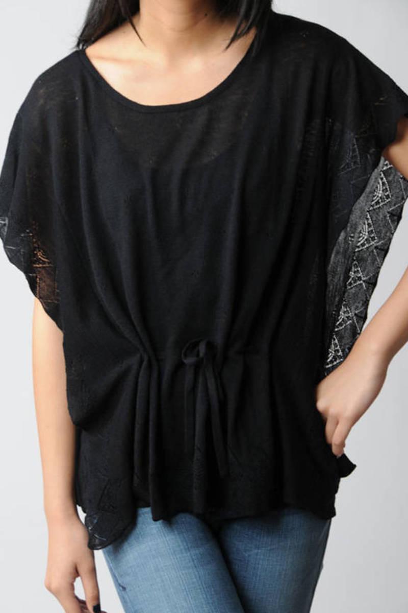 f2322cf7f3 Black Velvet Top - Lace Trim Dolman Top - Black Drop Waist Shirt ...