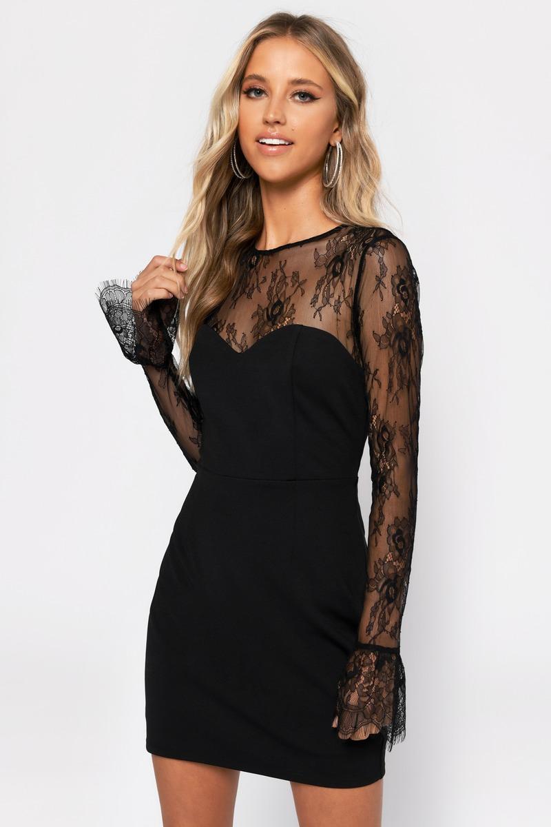 black lace bodycon cocktail dress