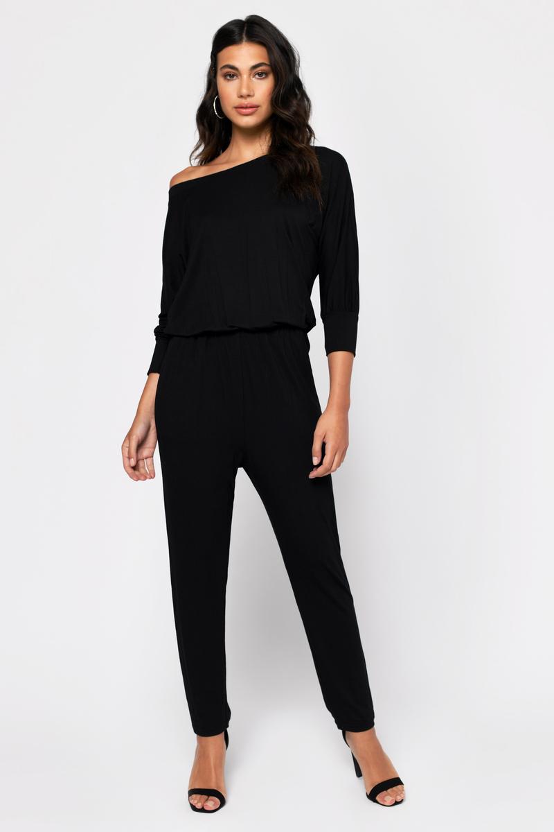 d7c54f06137f5 Black Jumpsuit - Off Shoulder Jumspuit - Black Slouchy Jumpsuit ...