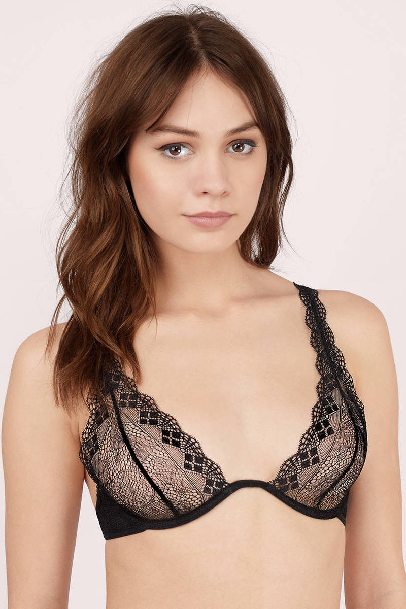 Just A Touch Black Patterned Bra