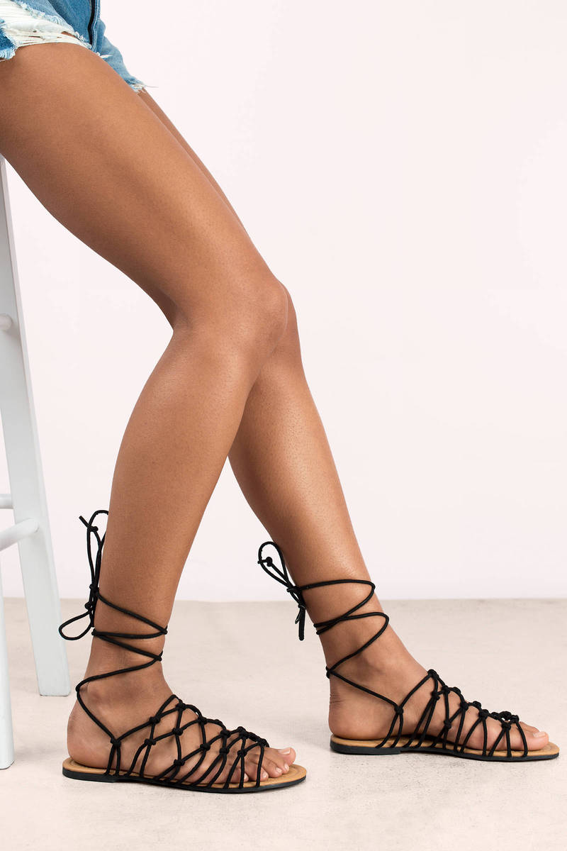 c4698bf5519d Black Sandals - Caged Sandals - Lace Up Flat Sandals -  20