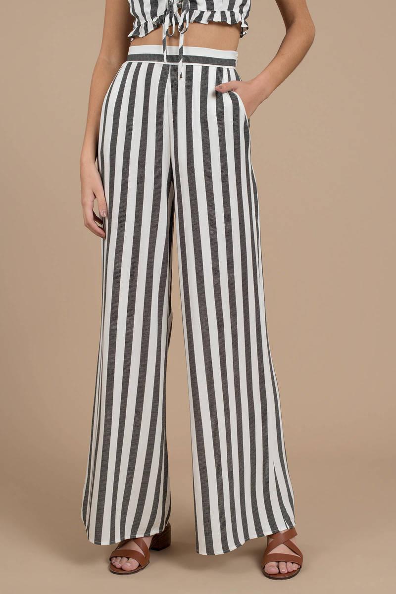 Black Pants Striped High Waist Pants Black Flowy Pants