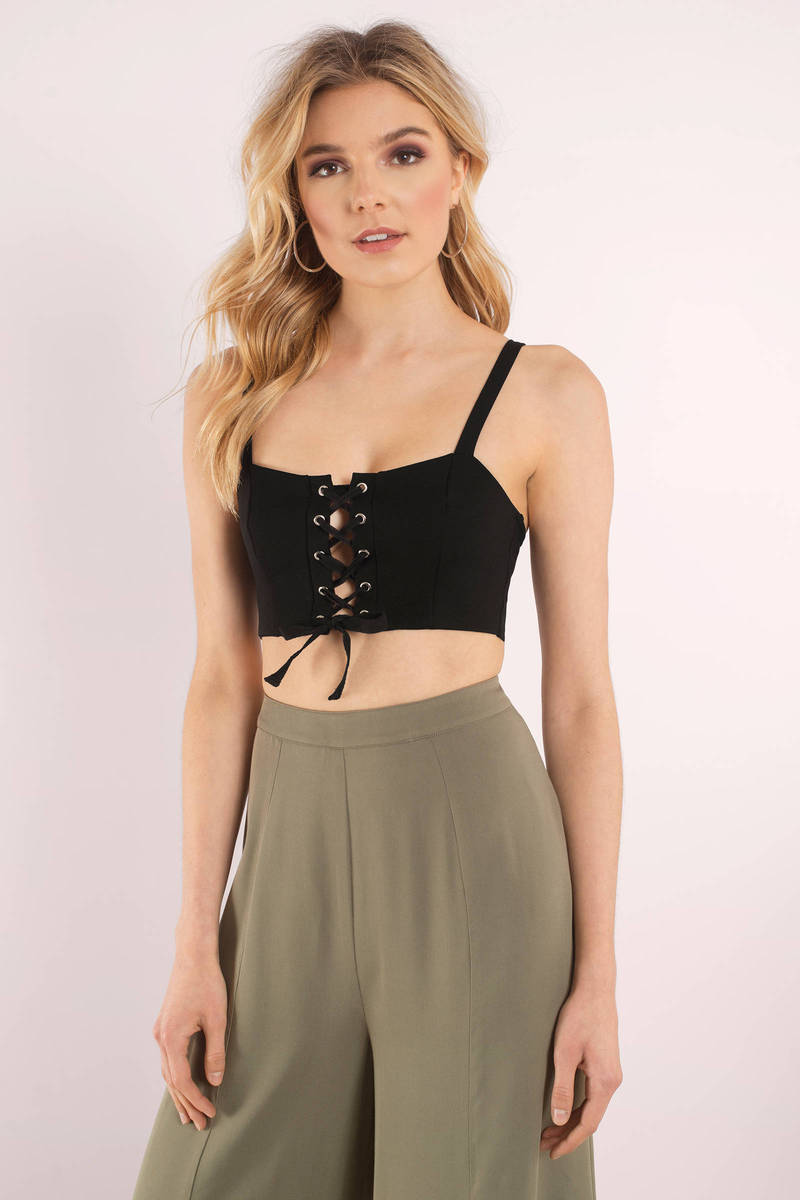 3bdcc1892821d3 Cute Black Crop Top - Lace Up Top - Black Top - Black Crop Top -  12 ...