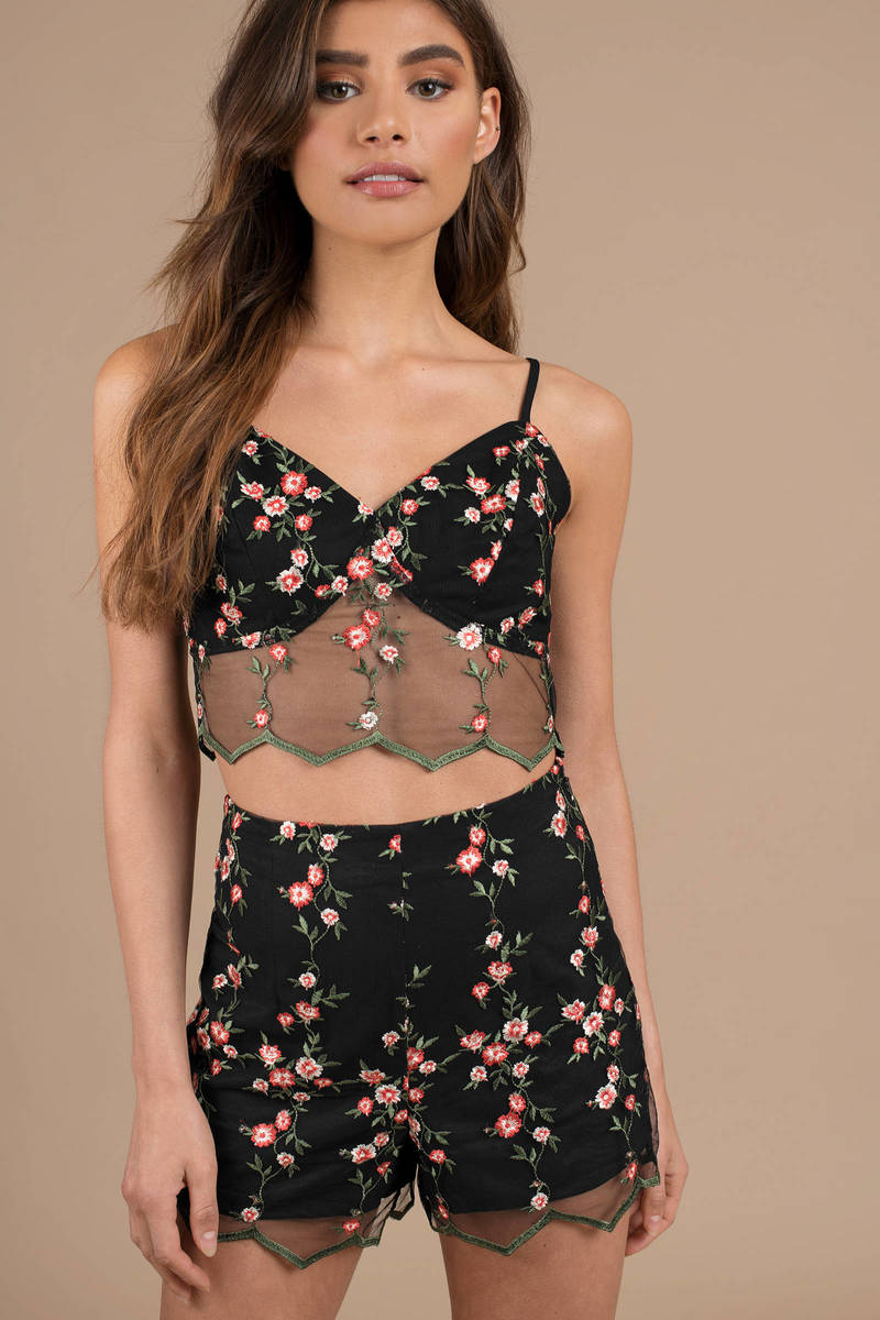 b80a2fbe2ad Black Joa Crop Top - Lace Overlay Top - Black Embroidered Floral ...