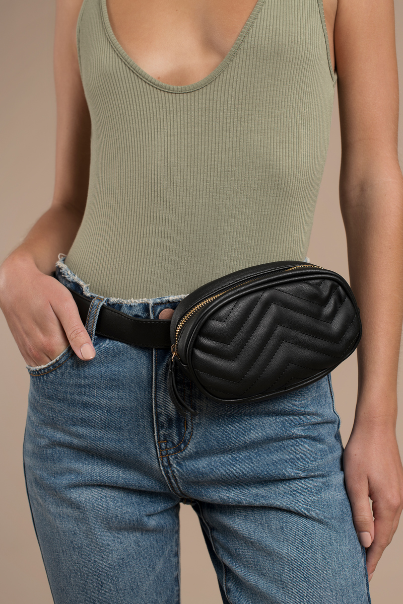 5ea94e21e Black Bag - Quilted Fanny Pack - Black Fanny Pack - Fancy Fanny Pack ...